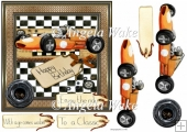 Clasic racing car 7x7 card with decoupage