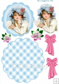vintage girl in blue bonnet & pink bows rocker card