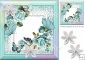 pretty turq roses, butterflies on lace with rainbow frame 8x8