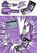 Lilac MP3 Player with butterflies & ladies Access 8x8