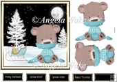 Bear waiting for Christmas 7x7 card