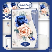 Wavy Edge Blue and pink roses card set