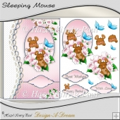 Sleeping Mouse Decoupage Card Front/Topper