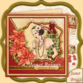 Christmas Art Deco Lady & Red Poinsettia 7.5 Decoupage Kit