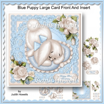 Blue Puppy Large Card Front And Insert
