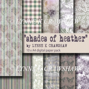 SHADES OF HEATHER - 10 x A4 digital paper pack - CU OK