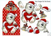 Cute polar bear on red snowflake tag