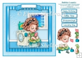 Bubbles Laundry - Square Card Topper With Decoupage