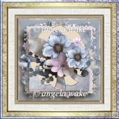Blue poppy 7x7 card with decoupage