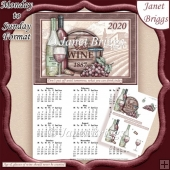 HUMOROUS WINE 2020 A4 UK Calendar with Decoupage Mini Kit