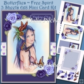 Butterflies Free Spirit, Fairy, 3 Sheet 6x8 Mini Card Kit