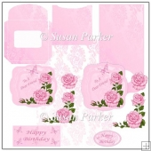 Floral Pink Shaped Easel Card
