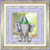 Elephant boy birthday 7x7 card with decoupage