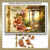 Golden Garden And Roses Card Front