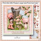 Pink Girls With Flowers Large Card Front And Insert