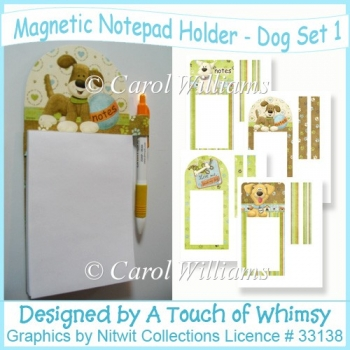 Magnetic Notepad Holder - Dog Set 1