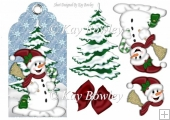 smiling snowman with christmas tree on a tag