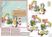 Snowmand and penguin carol singers