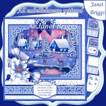 SILENT NIGHT Christmas 7.8 Quick Layer Card or Decoupage Kit