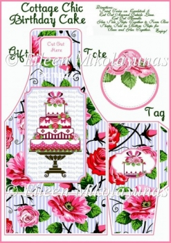 Cottage Chic Birthday Cake Gift Tote and Tag Set