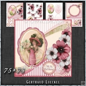 Vintage Shabby Flower Card Kit soft pink 1447