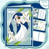WEDDING CALLA LILIES BLUE A5 Decoupage Card Kit