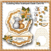Cuddling Mice Scalloped Easel Card Kit