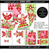 MOD SCANDI HOLIDAY BIRD CARD SET