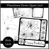 Monochrome Flowers Square Card