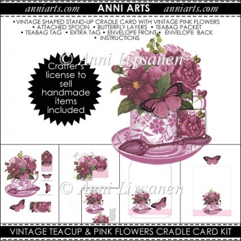 VintageTeacup and Pink Flowers Cradle Card