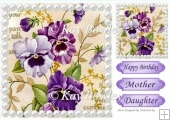 pretty painted lilac pansies with pearls 8x8