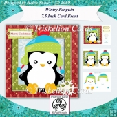 Wintry Penguin 7.5 Inch Card Front with Decoupage