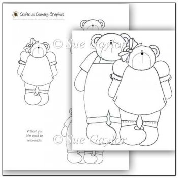 Digital Stamps / Line Art :: Country Girl and Boy Bears Digital Stamps