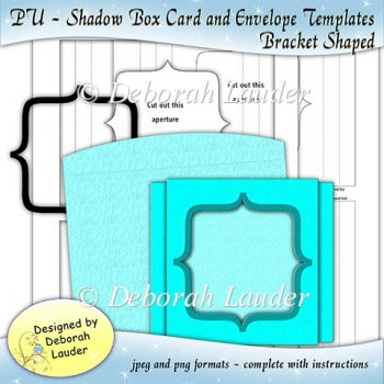 PU - Bracket Shaped Shadow Box Card and Envelope Templates