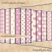 10 Pink Country Chic 8x8 Papers