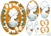 Pretty cameo lady with gold butterflies and roses oval pyramids