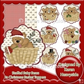 Stuffed Baby Bear In Christmas Basket Toppers