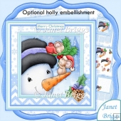 JOLLY HOLLY MICE Christmas Snowman Decoupage & Insert Kit