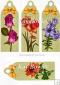 spring flowers on gingham bookmarks with gold bows bows