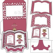 Rose Pink Dressed Up Bear Open Book Card Set