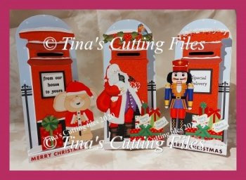 Dimensional Stand Up / Pop out Christmas Letter Box card SANTA