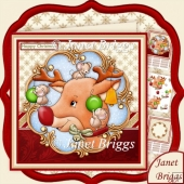 RED NOSED MOUSEDEER 8x8 Christmas Decoupage & Insert Kit