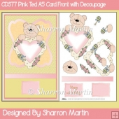 CDS77 Pink Ted A5 Card front with Decoupage