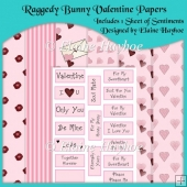Raggedy Bunny Valentine Backing Papers