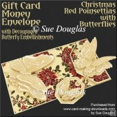 Christmas Red Poinsettias with Butterflies Card/Money Envelope