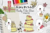Happy Birthday Plushy Polar Bear CU Clipart
