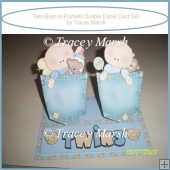 Baby Twin Boys in Pockets Double Easel Card Set
