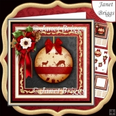 CHRISTMAS RED GOLD REINDEER BAUBLE 7.7 Decoupage & Insert Kit