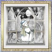 Sking snowman 7x7 card with decoupage and sentiment tags