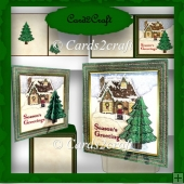 Christmas tree and house card set